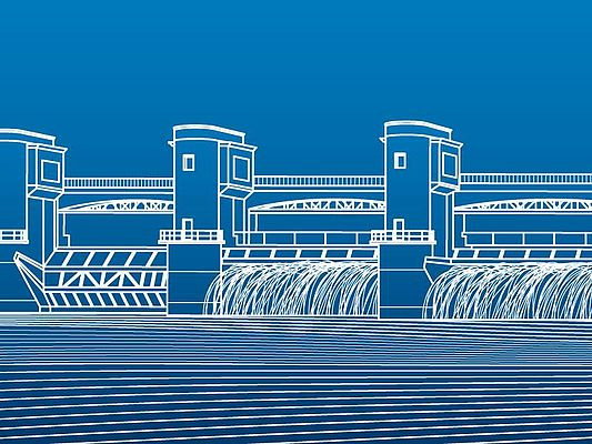 Hydro power plant. River Dam. Energy station. Water power. City infrastructure industrial illustration panorama. White lines on blue background. Vector (© stock.adobe.com / panimoni)